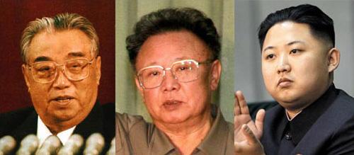 From left, Kim II-sung, Kim Jong-il and Kim Jong-un