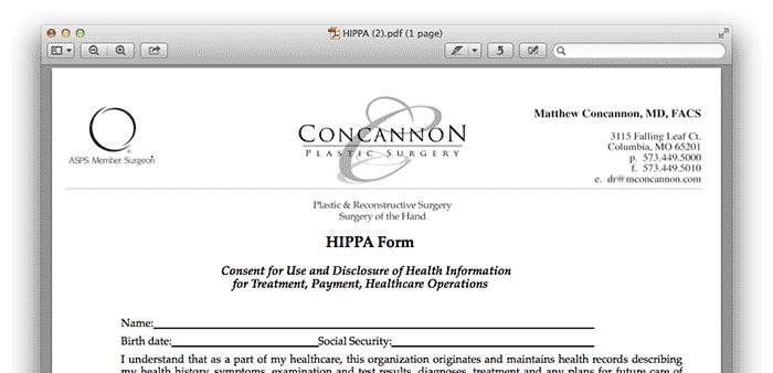 Hippa Form Dr.Concannon